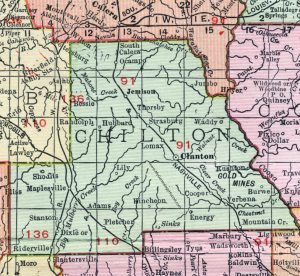 This is a map of Chilton County from 1911. It shows where Dixie used to be located between Stanton and Riderville.