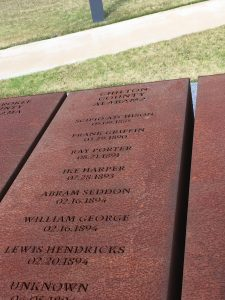 This is a photo of the steel rectangle for Chilton County. It lists all of the victims for Chilton County including Scipio's name.
