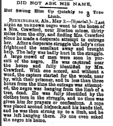 """Picture of an article entitled """"Did Not Ask His Name: But Swung Him Up Quickly to a Tree Limb"""""""