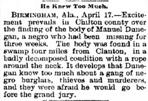 April 17, 1895 newspaper piece describing Dunegan's corpse and cause of death.