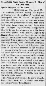 14 April, 1895 Newspaper clipping detailing the circumstances of Dunegan's death.